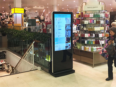 inVoke Digital Signage free-standing internal screen installation at Jarrold department store, Norwich